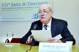 Guillermo Ignacio,  vicepresidente de la Comisión de Libertad de  Prensa e Información, durante la 151° Junta de Directores de ADEPA,