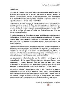 Comunicado Consejo de Consulta del Perú rechazo dichos de Patricia Bullrich