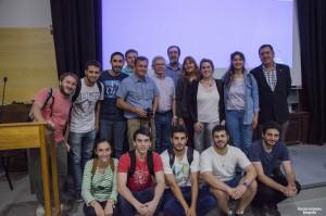Especialistas rusos junto a docentes y alumnos de Ing. Agrimensura