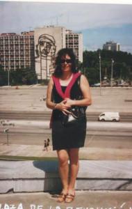 Ángela Gentile, en la Plaza de la Revolución.